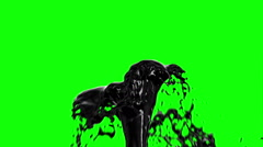 Black Oil Fountain Isolated on Green Screen Background. Stock Footage
