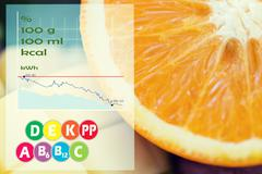Close up of orange with calories and vitamins Stock Photos
