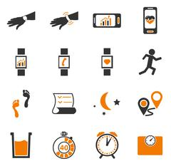 Jogging and workout icons set Stock Illustration