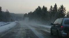 Winter road driving POV, steadicam shot Stock Footage