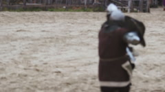 Sparring partners fighting at training field. Medieval tournament reenactment Stock Footage