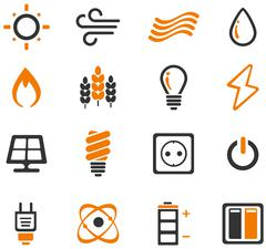Fuel and Power Generation Icons Stock Illustration