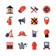 Fire Department Decorative Icons - stock illustration