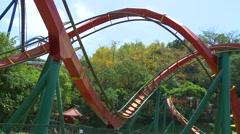 Roller coaster of Janfusun Fancyworld Jian Hu Shan Theme Park in Yunlin, Taiwan - stock footage