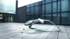 Futuristic drone takes off in front of the office building Stock Footage