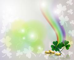 Rainbow and clover with golden coins on background - stock illustration