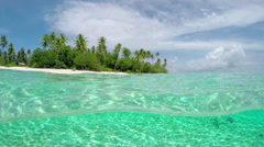 UNDERWATER: Fantastic clean ocean and tropical exotic island Bora Bora - stock footage