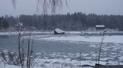 Freezing Baltic sea into ice during a cold winter in Sweden Stock Footage