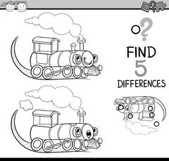 find the differences coloring book - stock illustration