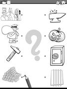 match elements coloring page - stock illustration