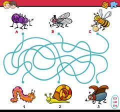 educational maze task for kids - stock illustration