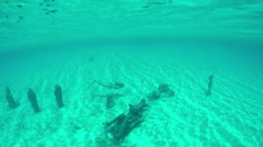 UNDERWATER: Young woman exploring sunken statue sanctuary in deep sea Stock Footage