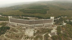 AERIAL VIEW. Carcass Of Big Industrial Building In Suburbs Stock Footage