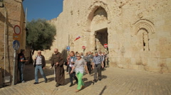 Tourists in Jerusalem's Zion Gate Stock Footage