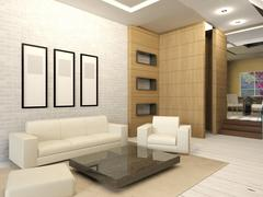 White living room interior in modern design Stock Illustration