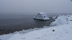 Baltic sea coast in winter covered with snow and ice. sweden Stock Footage