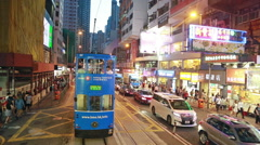 Hong Kong tramway in Central district Stock Footage
