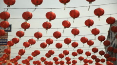 Hanging Chinese lanterns - stock footage