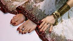 Indian Wedding Preparation. Luxury Oriental Fashion Accessories: Female foot  - stock footage