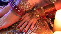 Indian Wedding Preparation. Luxury Oriental Fashion Accessories: Female foot  Stock Footage