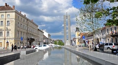 Eroilor boulevard in the city center of Cluj Napoca in Transylvania, Romania Stock Footage