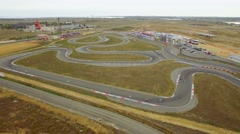 AERIAL VIEW. Carts Racing During Russian Championship Stock Footage