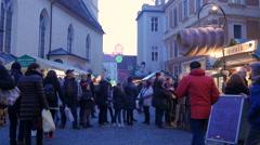 Walking at the Franziskanerviertel Christmas market in Graz Stock Footage