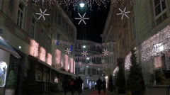 View of Stempfergasse  decorated for Christmas in Graz Stock Footage