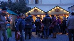 Two pretzel stalls at the Franziskanerviertel Christmas market in Graz Stock Footage