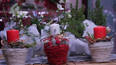 Candle arrangements on a street stall at the Christmas market in Graz Stock Footage