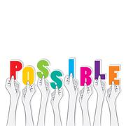 Possible text hold in hand design Stock Illustration