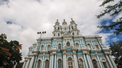 Russia, St. Petersburg. Smolny Cathedral. Stock Footage