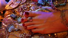 Indian Wedding Preparation. Luxury Oriental Fashion Accessories: Female foot  Stock Footage