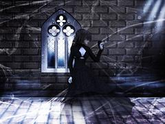 Haunted Interior and Ghost - stock illustration