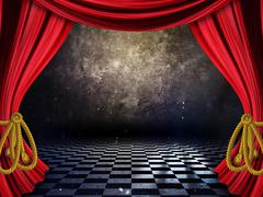 Room with Red Curtains Stock Illustration