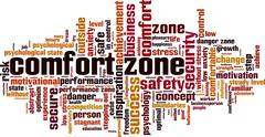 Comfort zone word cloud - stock illustration