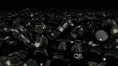 Spin around pile of fallen barrels of crude oil - a lot of barrels Stock Footage