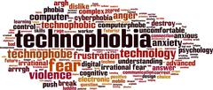 Technophobia word cloud - stock illustration