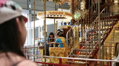 Carousel in Formosan Aboriginal Culture Village, Taiwan Stock Footage