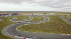 AERIAL VIEW. Russia Carting Championship On Route In Yevpatoriya Stock Footage