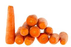 ripe carrot on a white background - stock photo