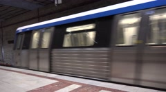 Modern subway train reaching station slowing down decrease speed, city travel 4K Stock Footage