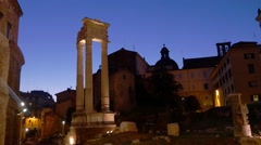 Marcellus Theatre in Rome at night Stock Footage