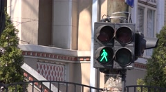 Pedestrian traffic lights green color change red, intermittent light, no passing Stock Footage
