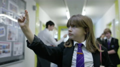 4K Frozen in time - teachers & pupils in still positions in school corridor Stock Footage