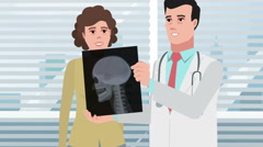 Cartoon Clinic / Doctor man with girl patient and Xray head - stock footage