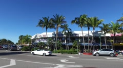 Pan across a section of St. Armands Circle Stock Footage