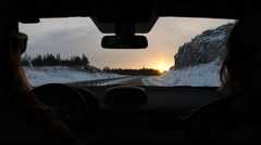 Driving car at Sunset on the freeway Arkistovideo