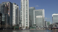 Canary Wharf High Rise Citi Bank Skyline at The Center of Finance 4K Stock Footage