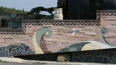Mural in Formosan Aboriginal Culture Village, Taiwan Stock Footage